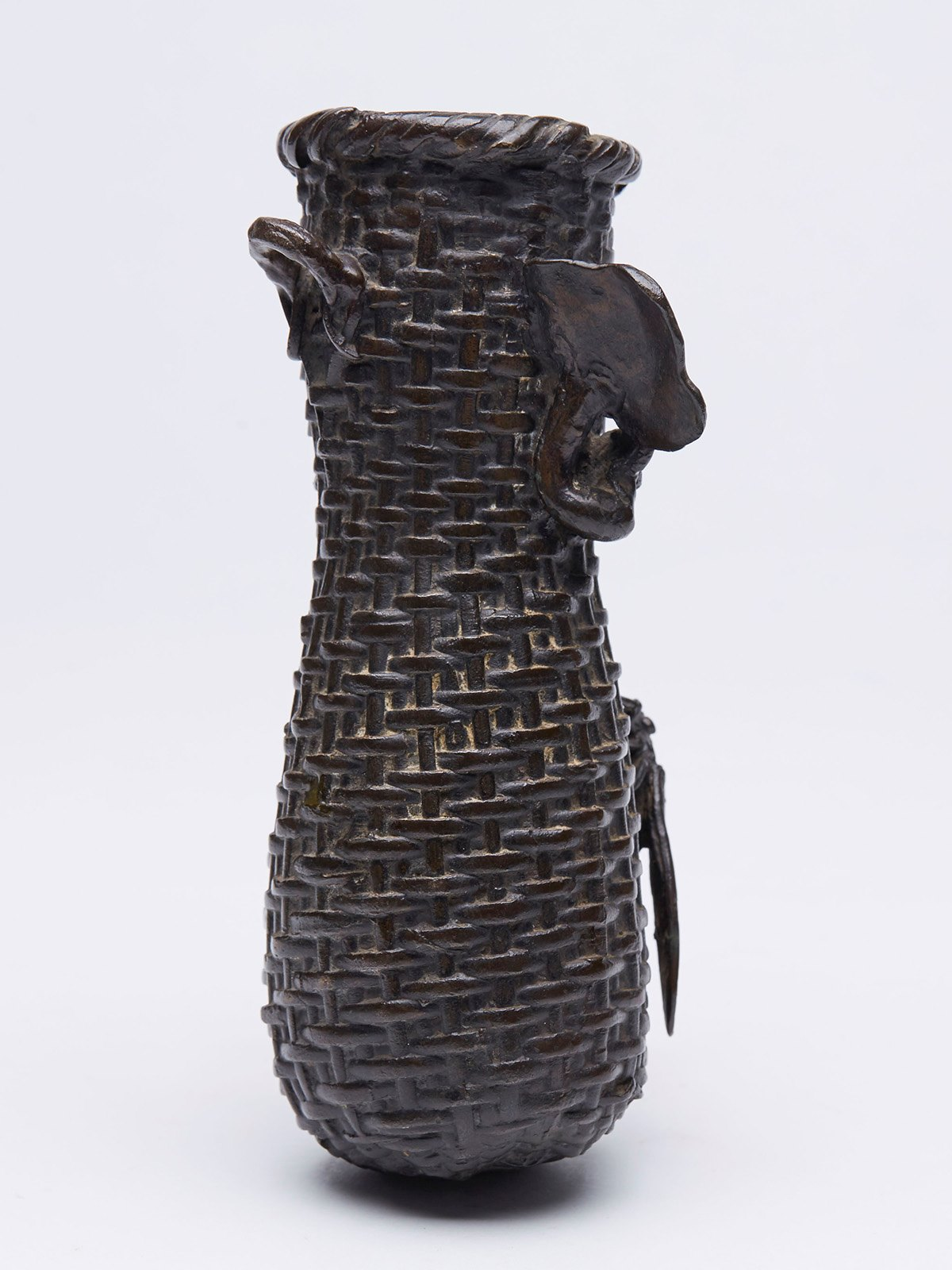 Antique japanese meiji bronze basket weave wall vase 19th c ebay xupes luxury watches fine art photography and antiques reviewsmspy