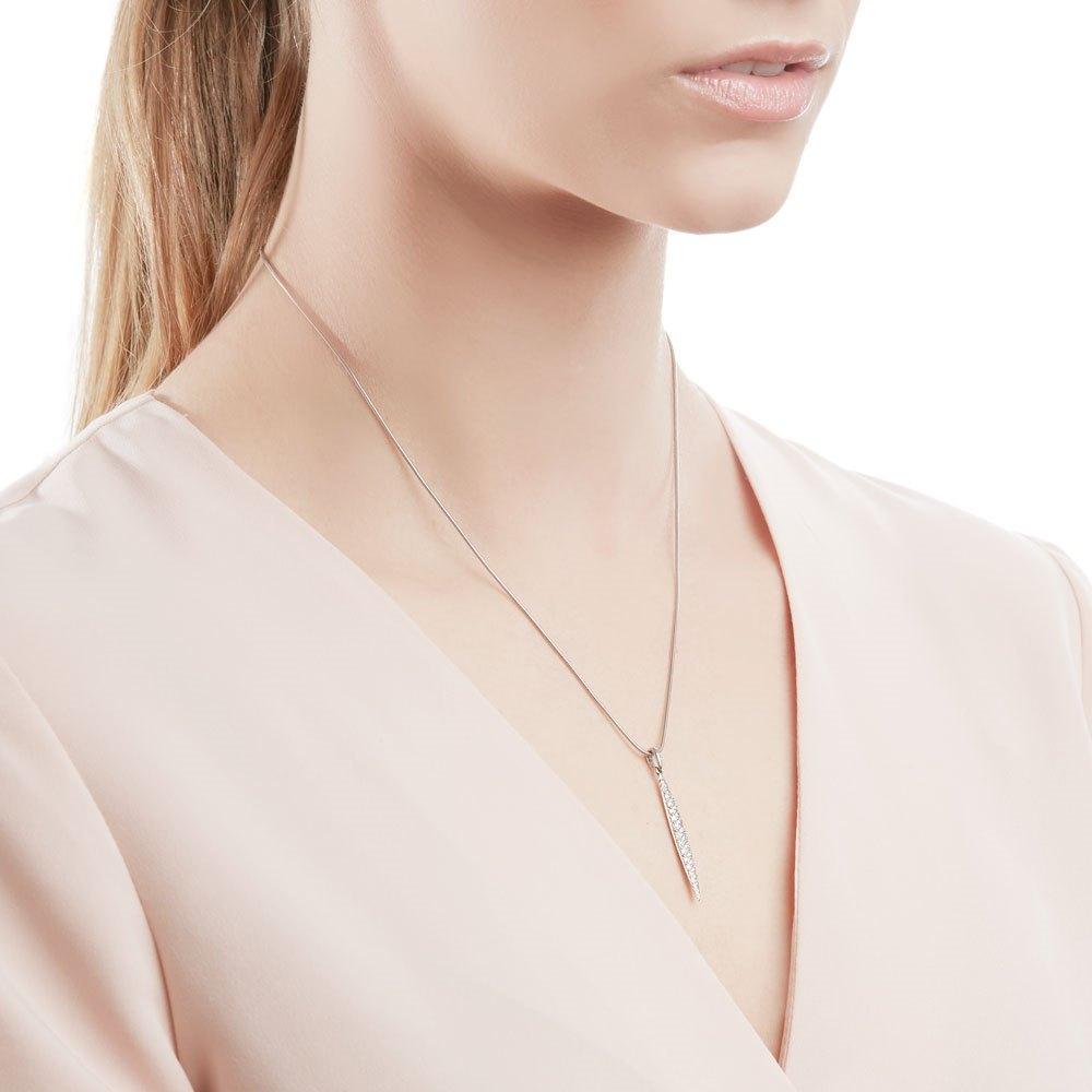 Tiffany & Co. 18k White Gold 0.50ct Pavé Diamond Feather Necklace