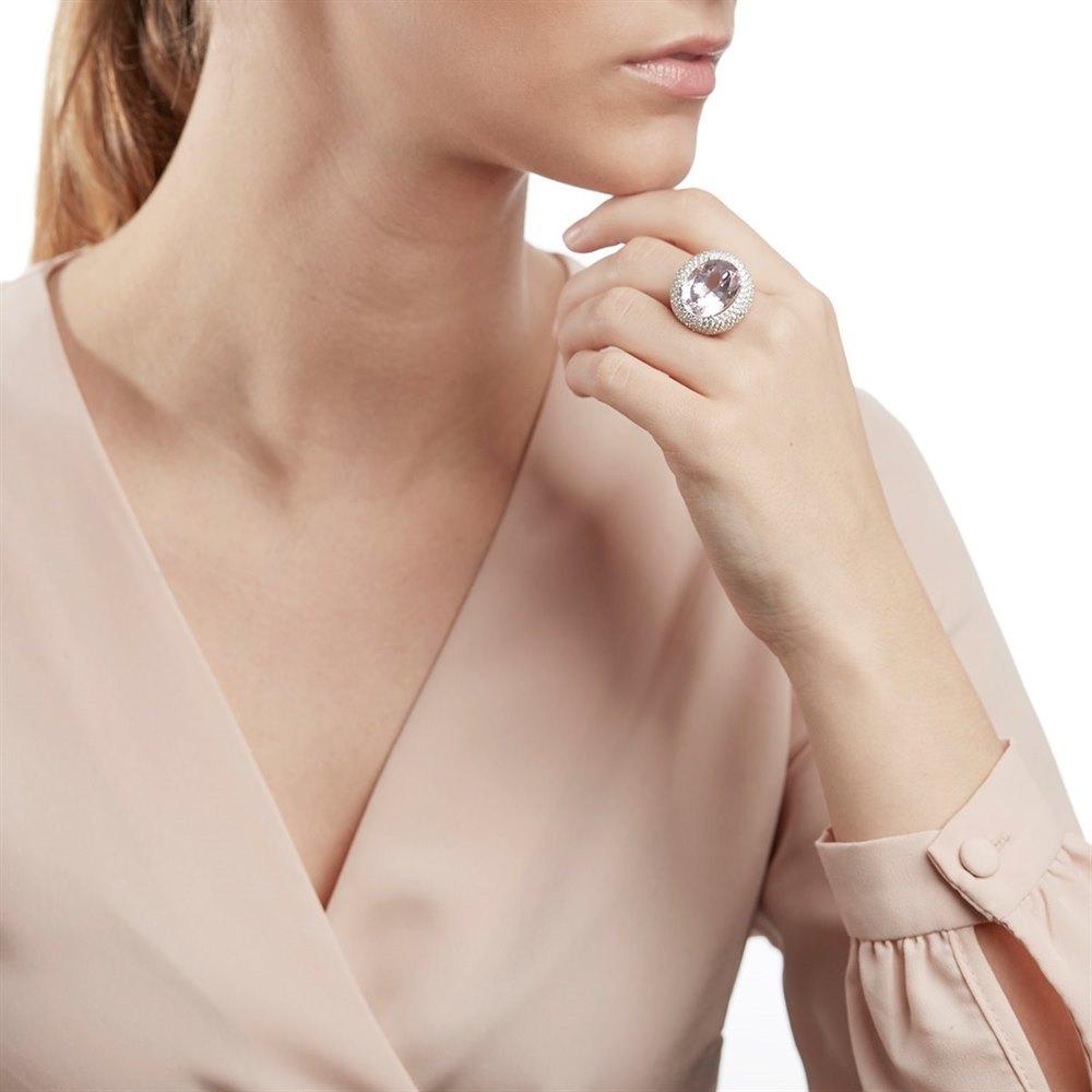 18k White Gold 17.00ct Kunzite & 6.60ct Diamond Cocktail Ring