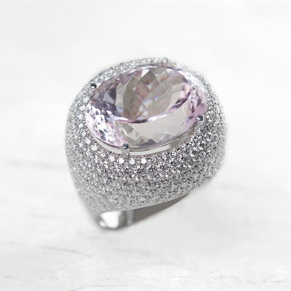 18k White Gold 17.00ct Kunzite & 6.60ct Diamond Cocktail Ring