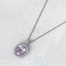 18k White Gold 11.00ct Kunzite & 1.50ct Diamond Necklace