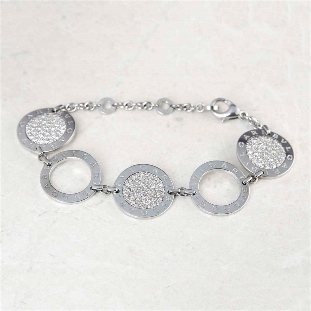 Bulgari 18k White Gold 1.00ct Diamond Circle Design Bracelet
