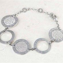 Bulgari 18k White Gold 1.00ct Diamond Circle Design Bracelet