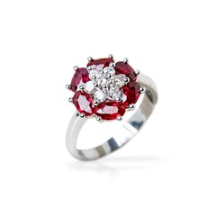 Camdame 18k White Gold 0.60ct Ruby & 0.25ct Diamond Floral Design Ring