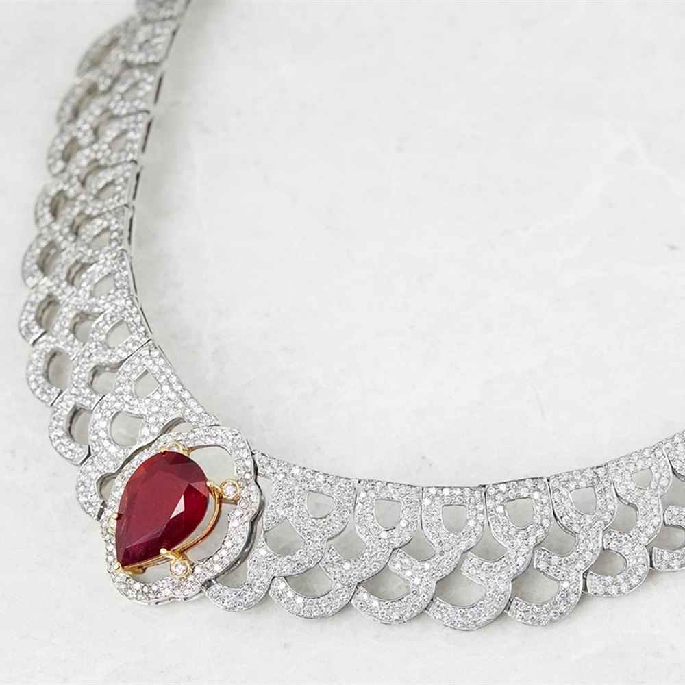 14 White Gold 12.00ct Ruby & 10.75ct Diamond Vintage Necklace