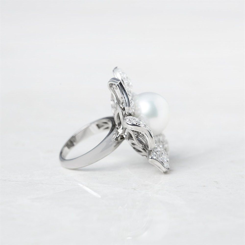 Picchiotti 18k White Gold South Sea Pearl & 3.60ct Diamond Cocktail Ring