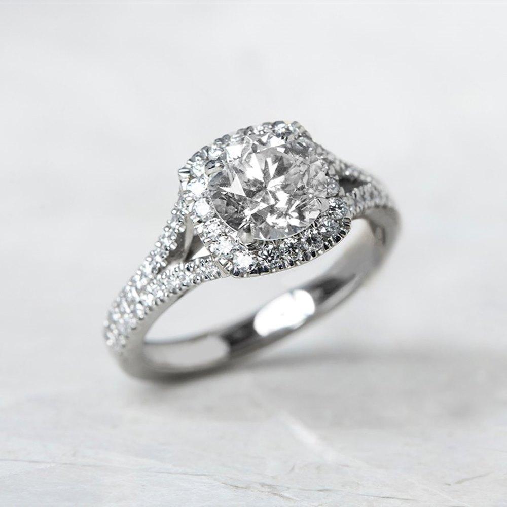 Platinum Round Brilliant Cut 1.42ct Diamond Ring