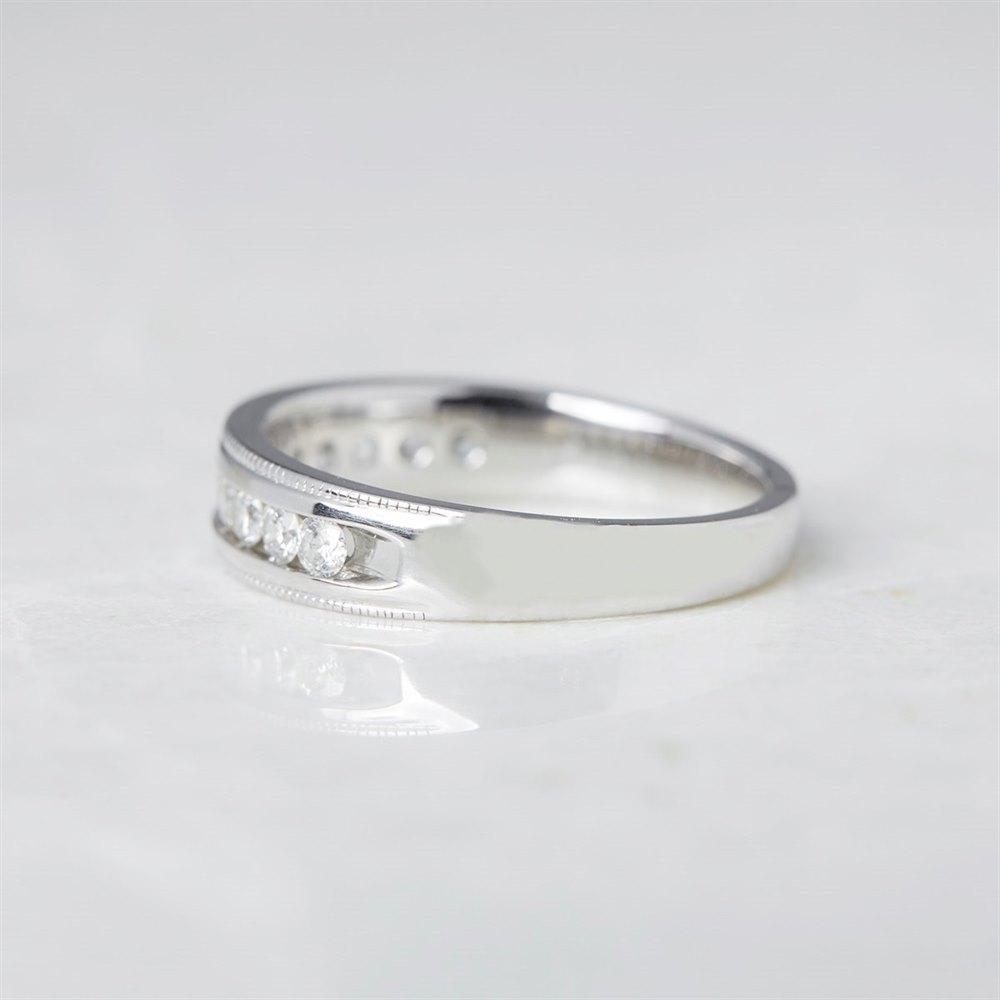 14k White Gold Round Brilliant Cut 0.50ct Diamond Half Eternity Ring