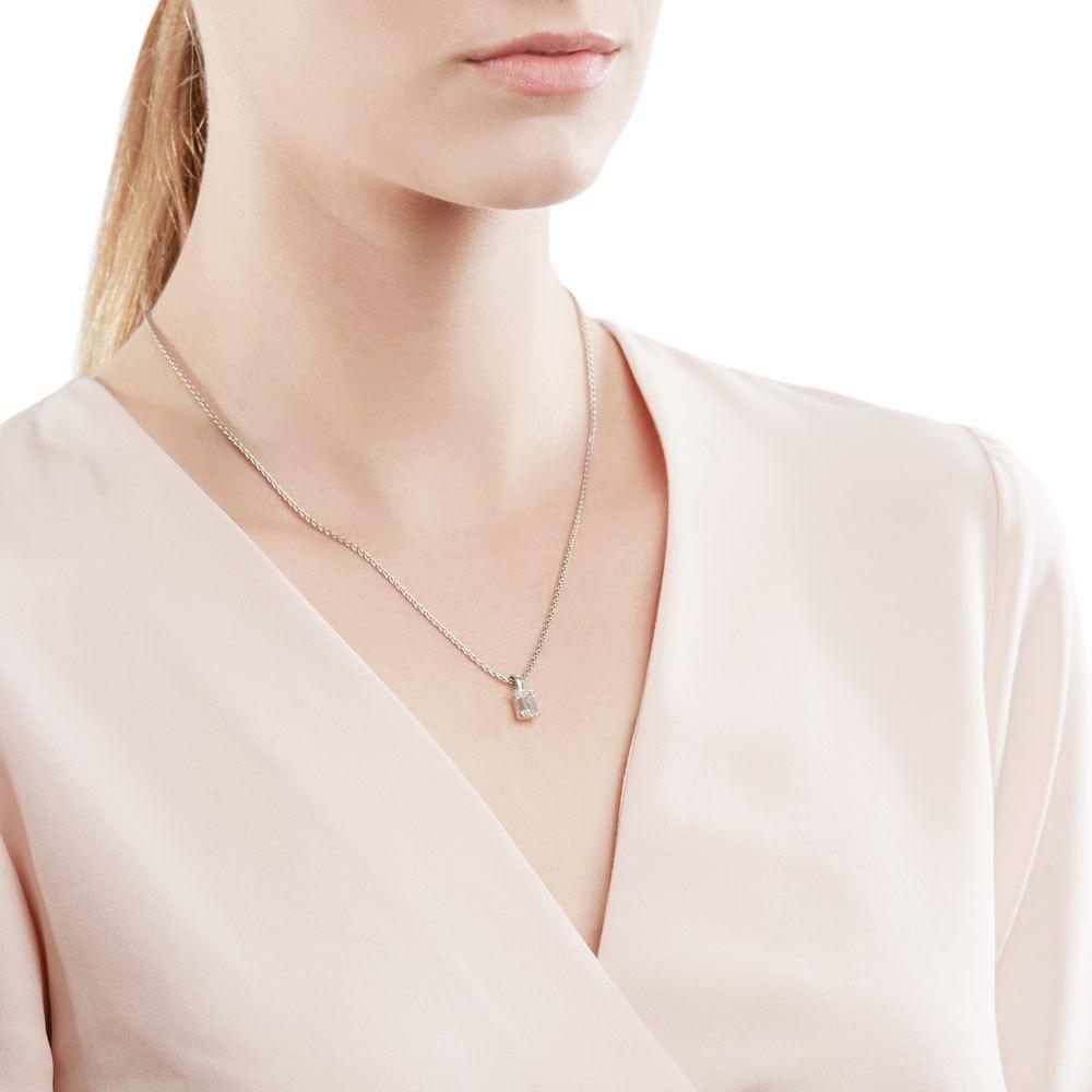 18k White Gold Emerald Cut 1.75ct Diamond Necklace