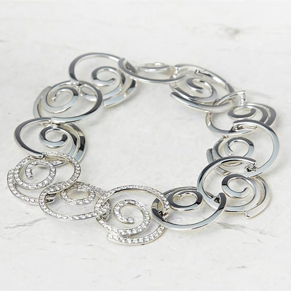Breguet 18k White Gold 1.95ct Diamond Circle Link Bracelet