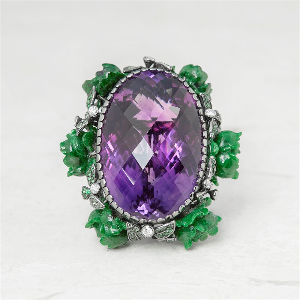 Lydia Courteille 18k White Gold Amethyst Flower Design Ring