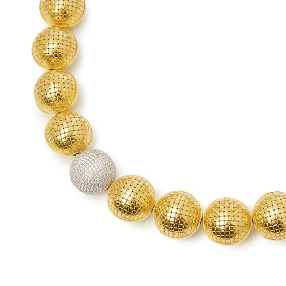 Bottega Veneta 18k Yellow & White Gold Diamond Sfera Necklace