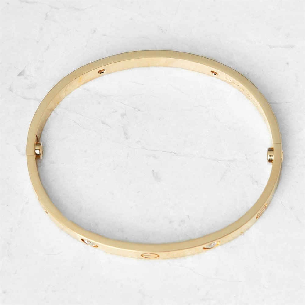 Cartier 18k Yellow Gold 4 Diamond Love Bracelet B6035917