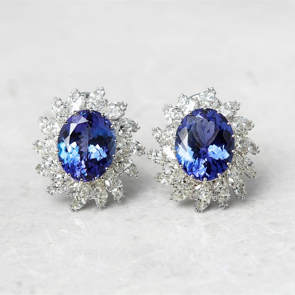 18k White Gold Oval Mixed Cut Tanzanite & Marquise Cut Diamond Earrings
