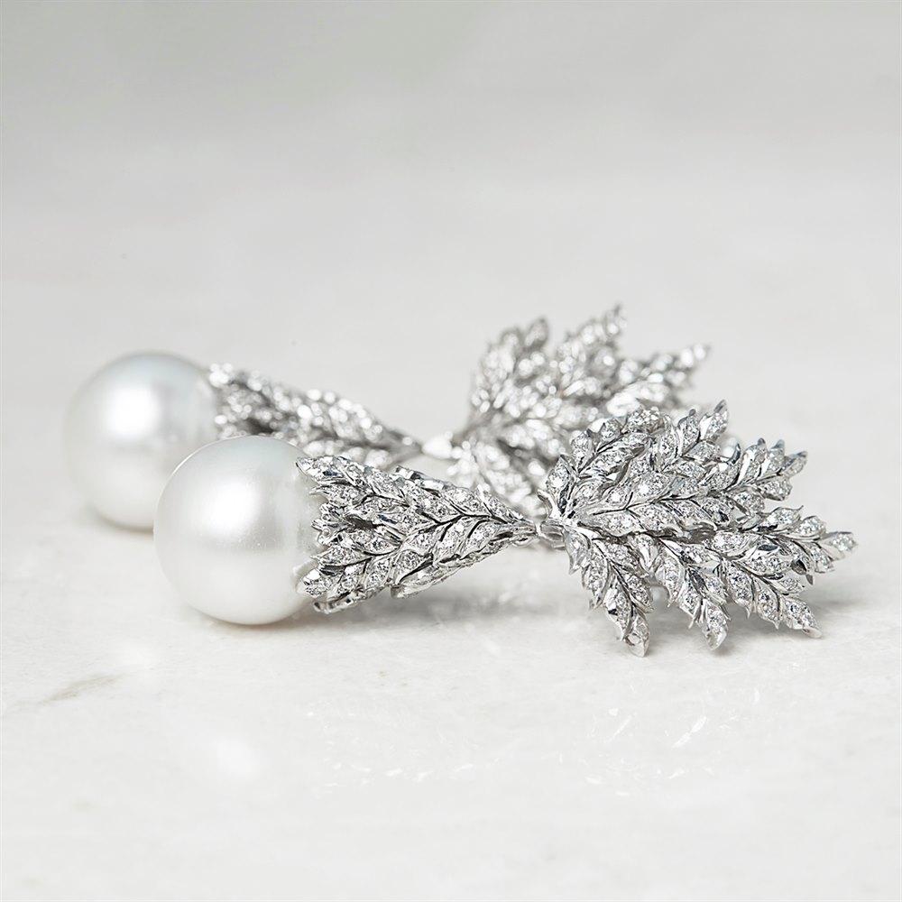 Buccellati 18k White Gold South Sea Pearl & 2.71ct Diamond Drop Earrings