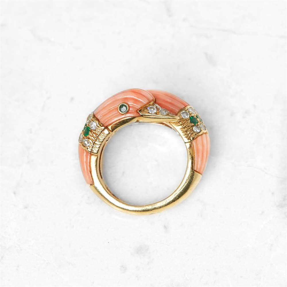 Van Cleef & Arpels 18k Yellow Gold Coral, Diamond & Emerald 'You & Me' Ring