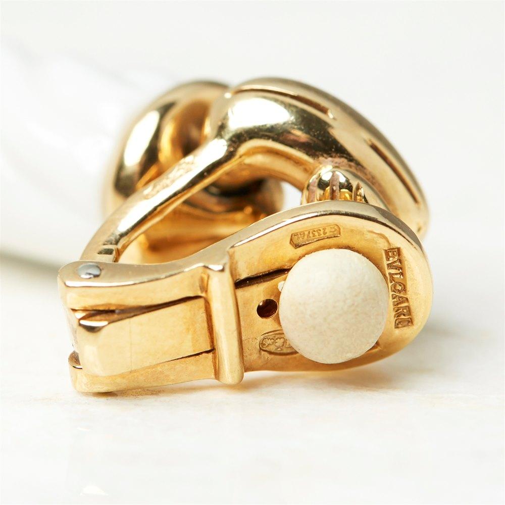 Bulgari 18k Yellow Gold & Porcelain Green Tourmaline Chandra Earrings