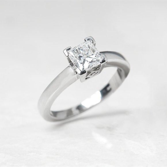 Platinum Princess Cut 1.03ct Diamond Engagement Ring