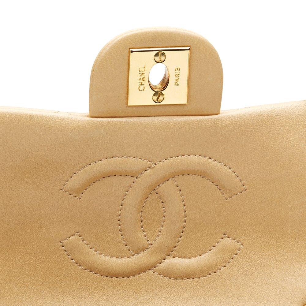 Chanel Beige Matelassé Cuir D agneau VINTAGE Mini sac à rabat HB944 ... 95e8a9e14f6