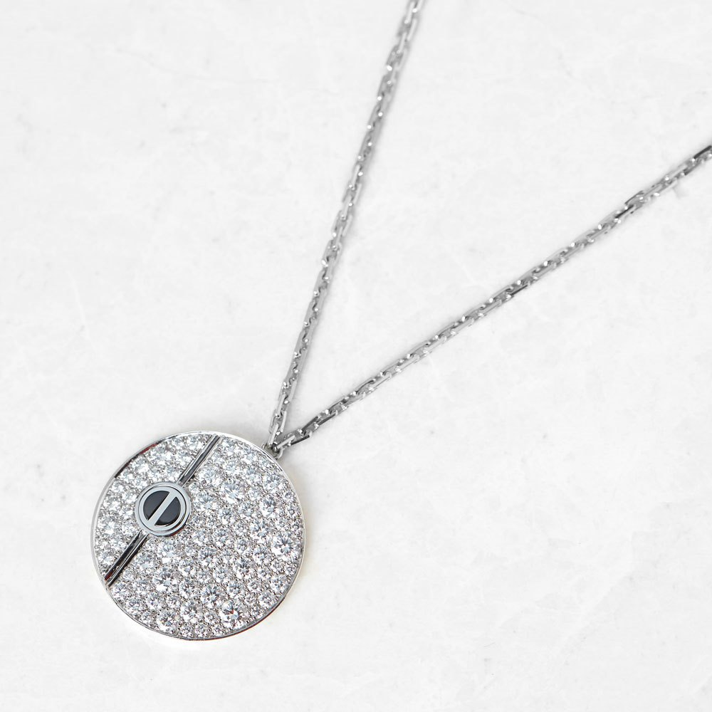 Cartier 18k White Gold 1.58ct Diamond & Onyx Love Necklace
