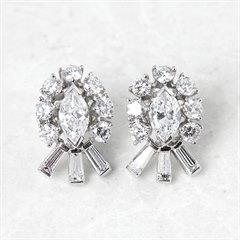 Tiffany & Co. Palladium 2.70ct Round, Marquise & Baguette Cut Diamond Stud Earrings