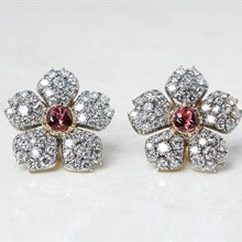 Cartier 18k White Gold 3.07ct Pink Tourmaline & 5.10ct Diamond Flower Earrings