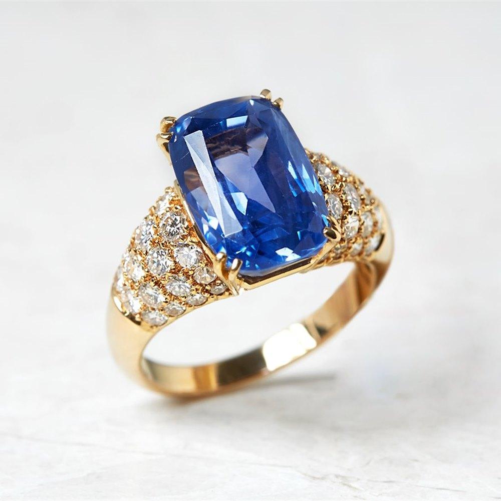 Van Cleef & Arpels 18k Yellow Gold 10.73ct Ceylon Sapphire & 1.80ct Diamond Ring