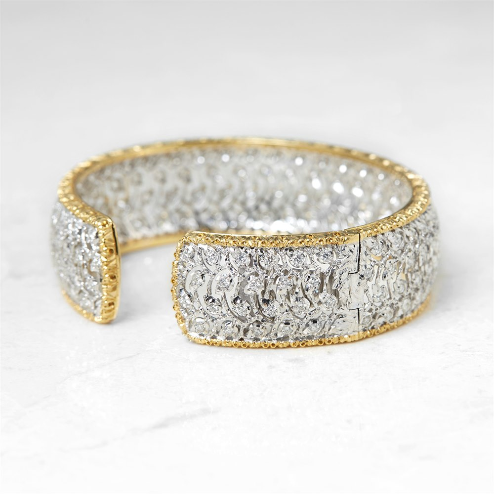 Buccellati 18k White & Yellow Gold 5.00ct Diamond Cuff Bracelet