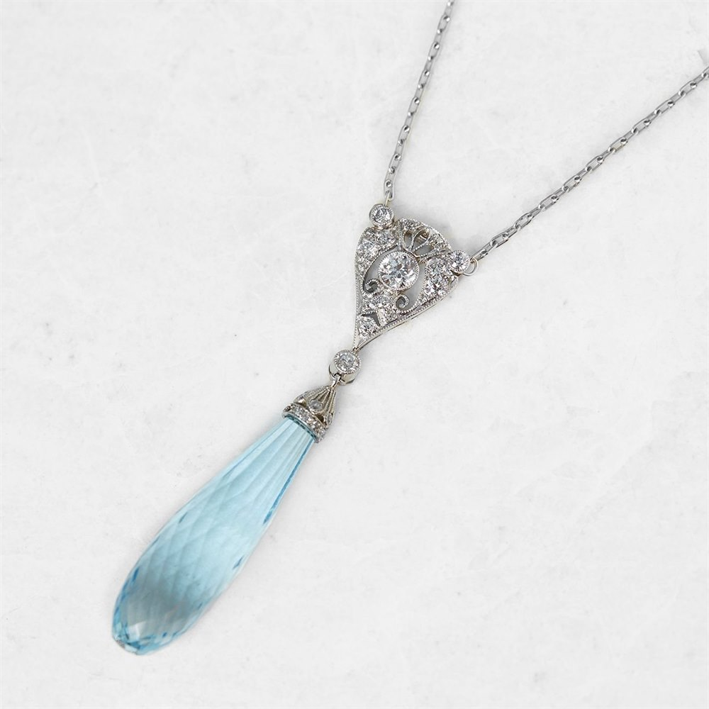 Tiffany & Co. Platinum Briolette Aquamarine & 0.35ct Diamond Edwardian Necklace