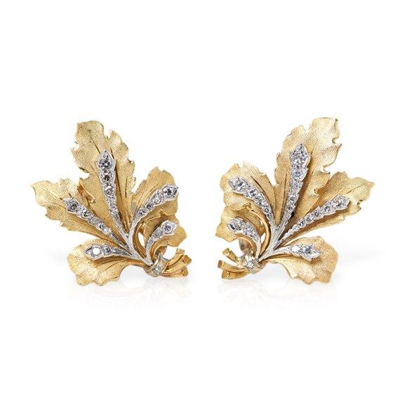 Buccellati 18k Yellow Gold 0.50ct Diamond Leaf Design Earrings