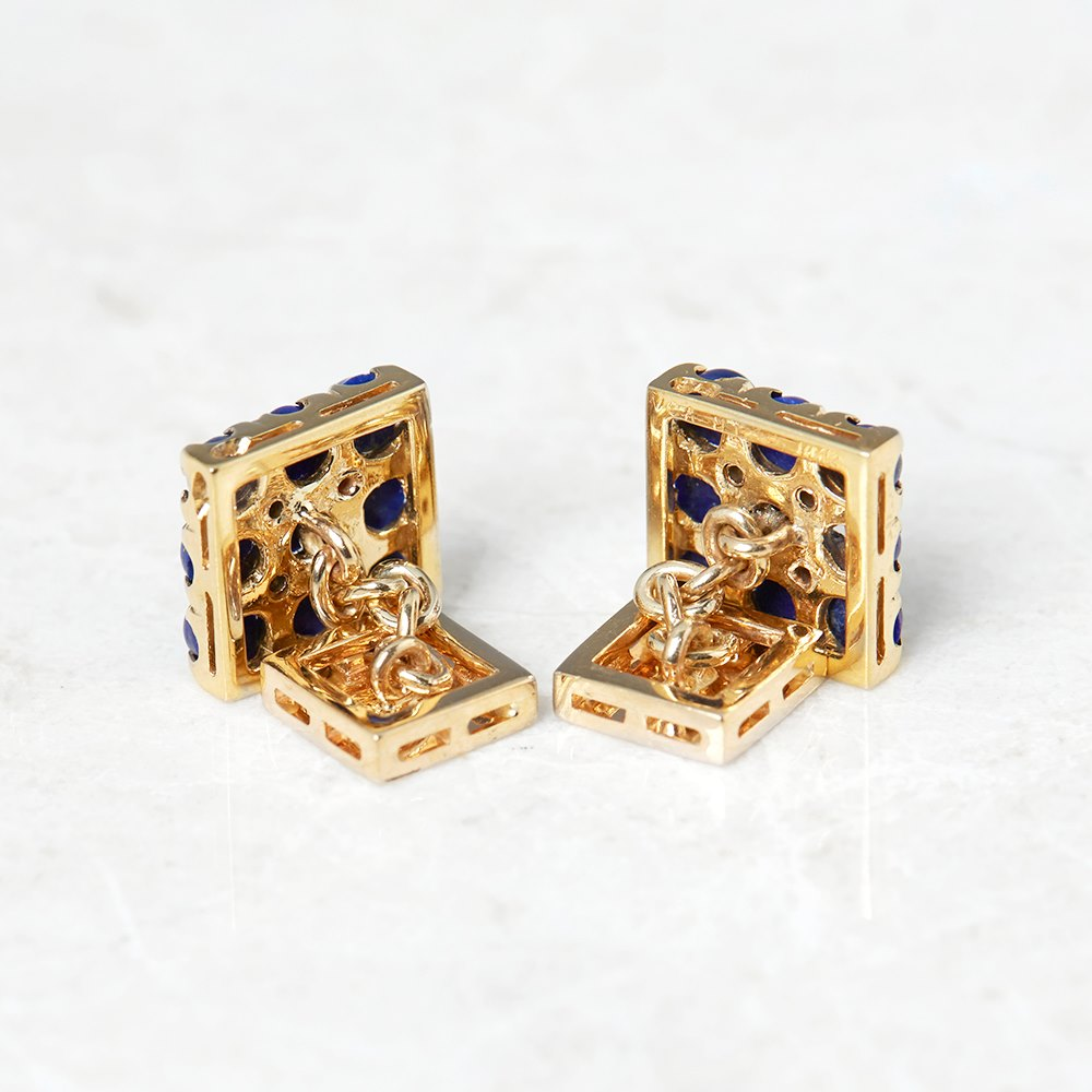 Van Cleef & Arpels 18k Yellow Gold Lapis Lazuli & 0.20ct Diamond Cufflinks