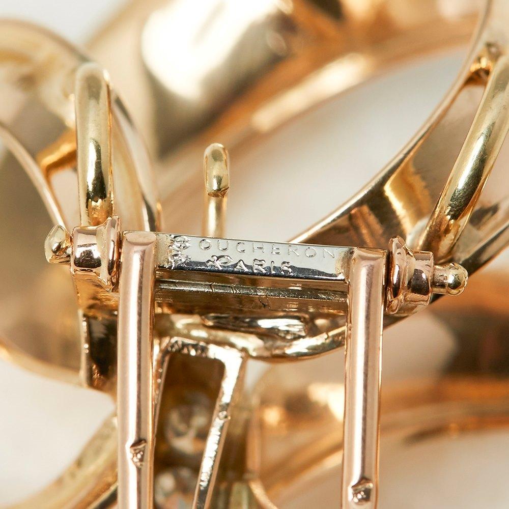 Boucheron 18k Yellow Gold 0.40ct Diamond Ribbon Design Brooch