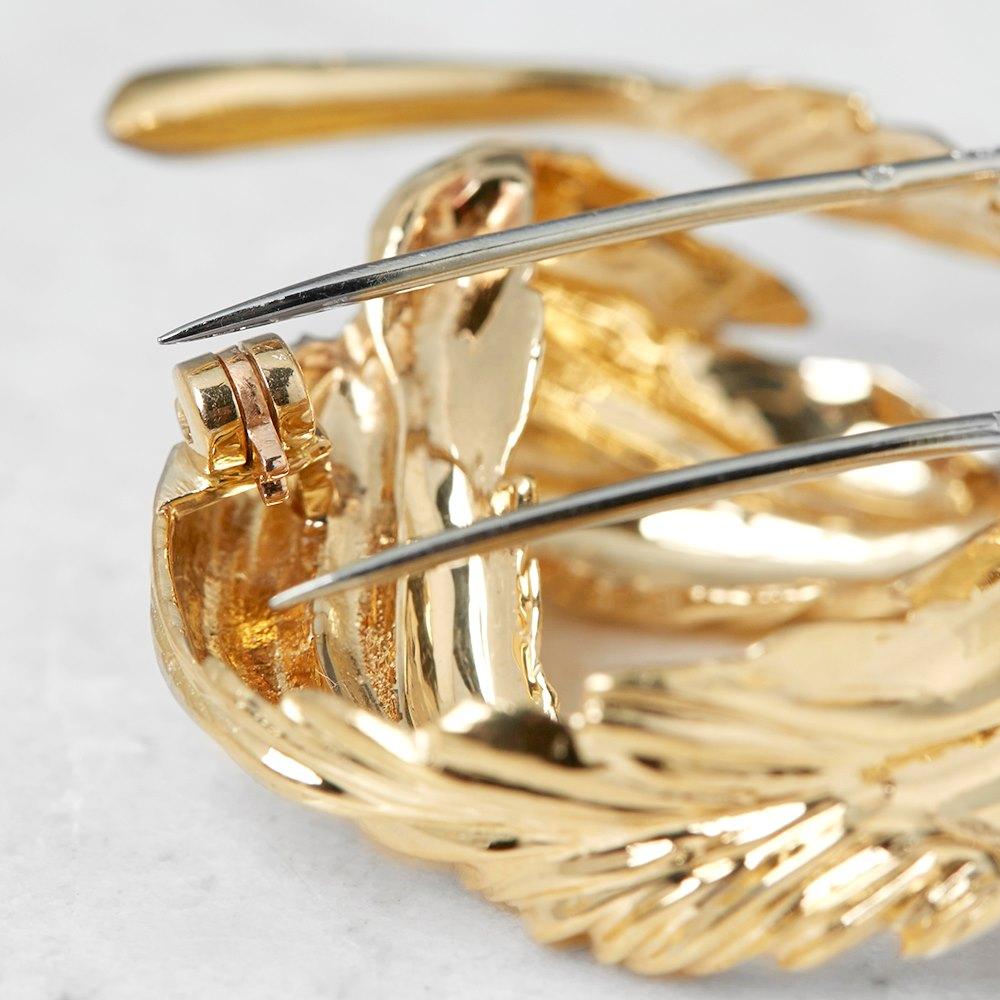 Van Cleef & Arpels 18k Yellow Gold Feather Design Brooch