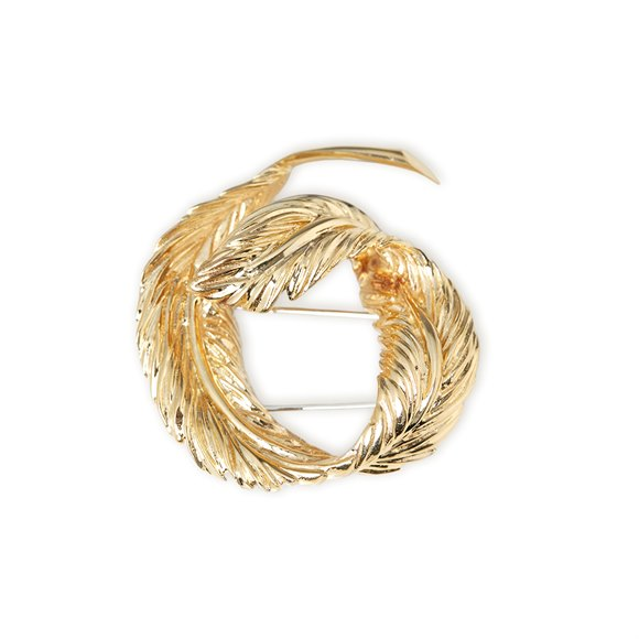 Van Cleef & Arpels 18k Yellow Gold Feather Design Brooch