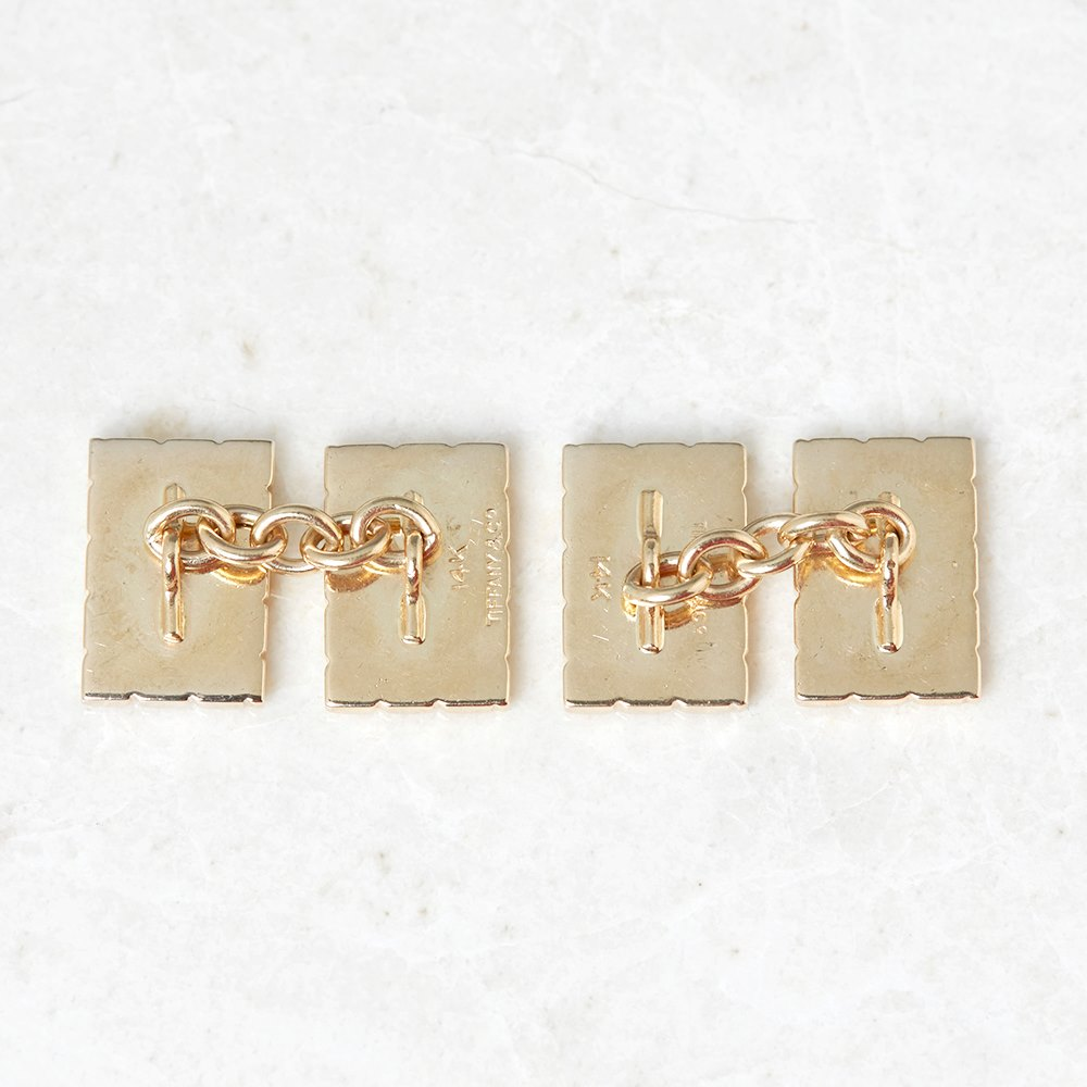 Tiffany & Co. 14k Yellow Gold Striped Retro Cufflinks