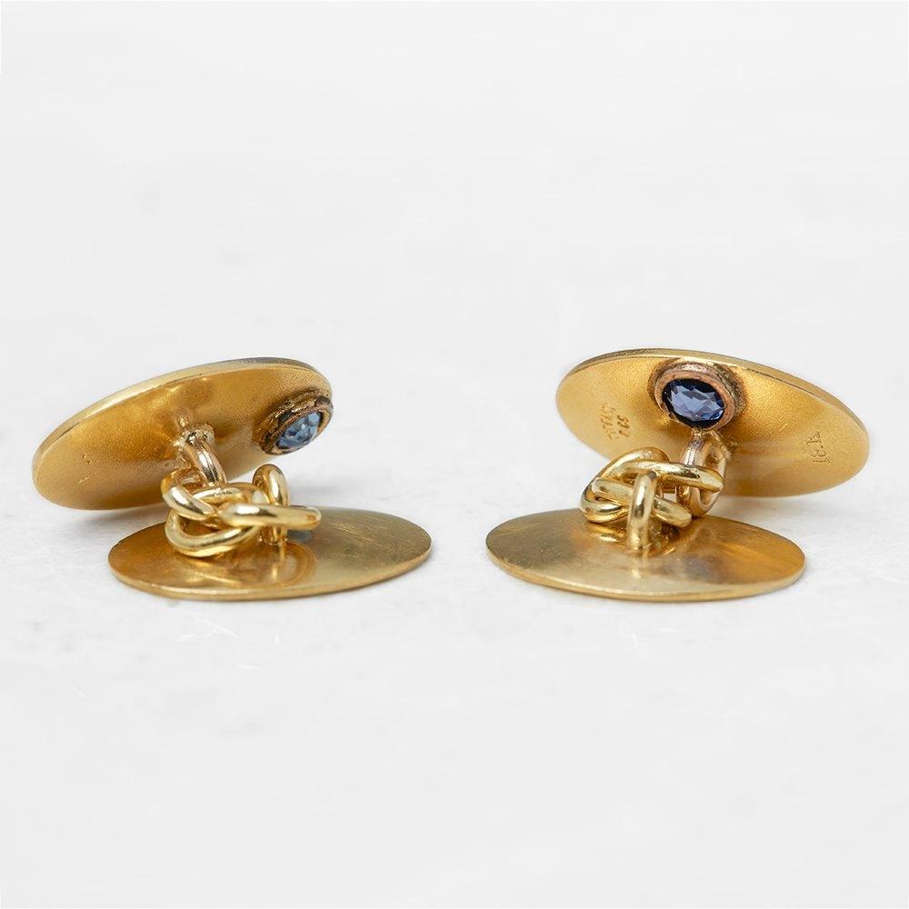 Tiffany & Co. 18k Yellow Gold 0.30ct Sapphire & 0.10ct Diamond Retro Cufflinks