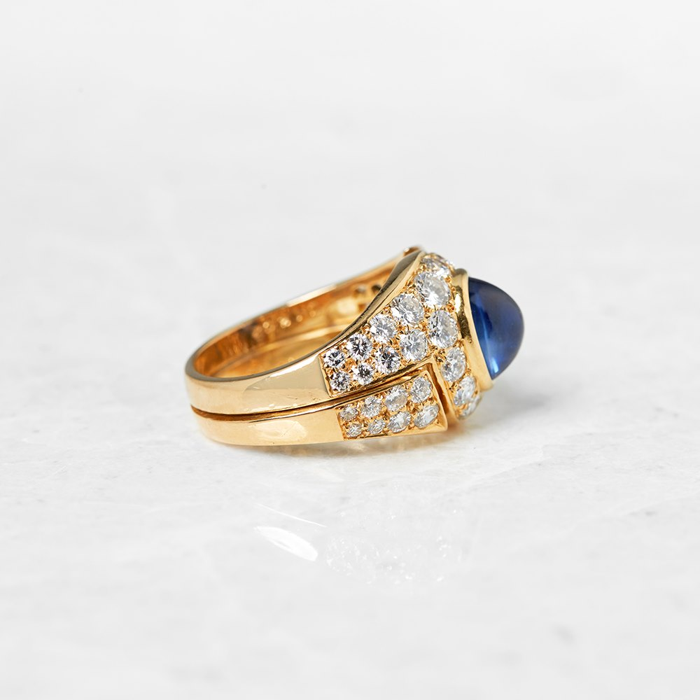 Bulgari 18k Yellow Gold 2.10ct Cabochon Sapphire & 1.75ct Diamond Ring