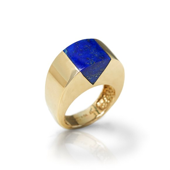 Tiffany & Co. 18k Yellow Gold Lapis Lazuli Ring