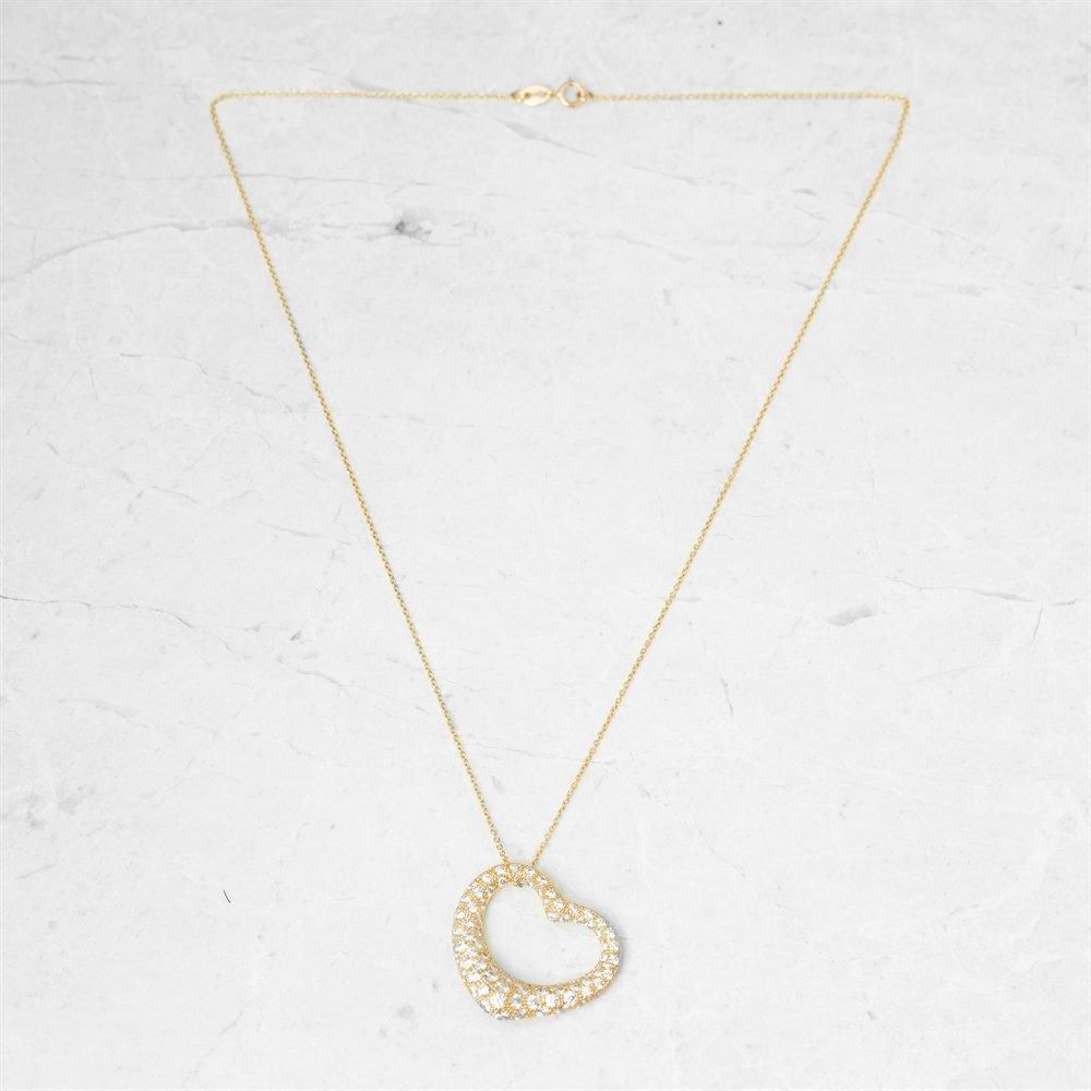 Tiffany & Co 18k Yellow Gold 2.00ct Diamond Open Heart Elsa Peretti Necklace