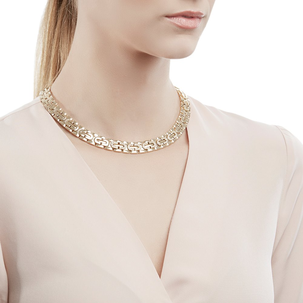 Cartier 18k Yellow Gold Oval Link Collar 0.70ct Diamond Maillon Necklace