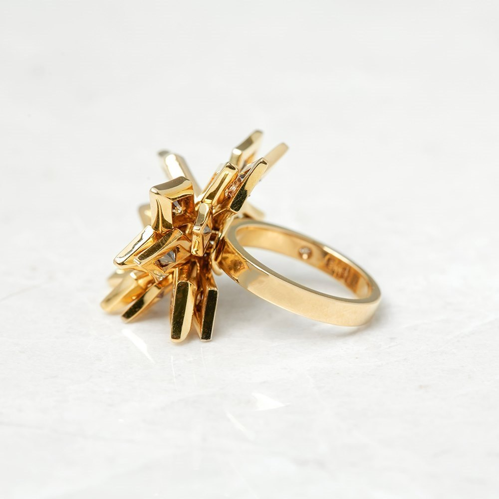De Beers 18k Yellow Gold 1.30ct Fancy Brown & 0.80ct White Diamond Floral Dress Ring