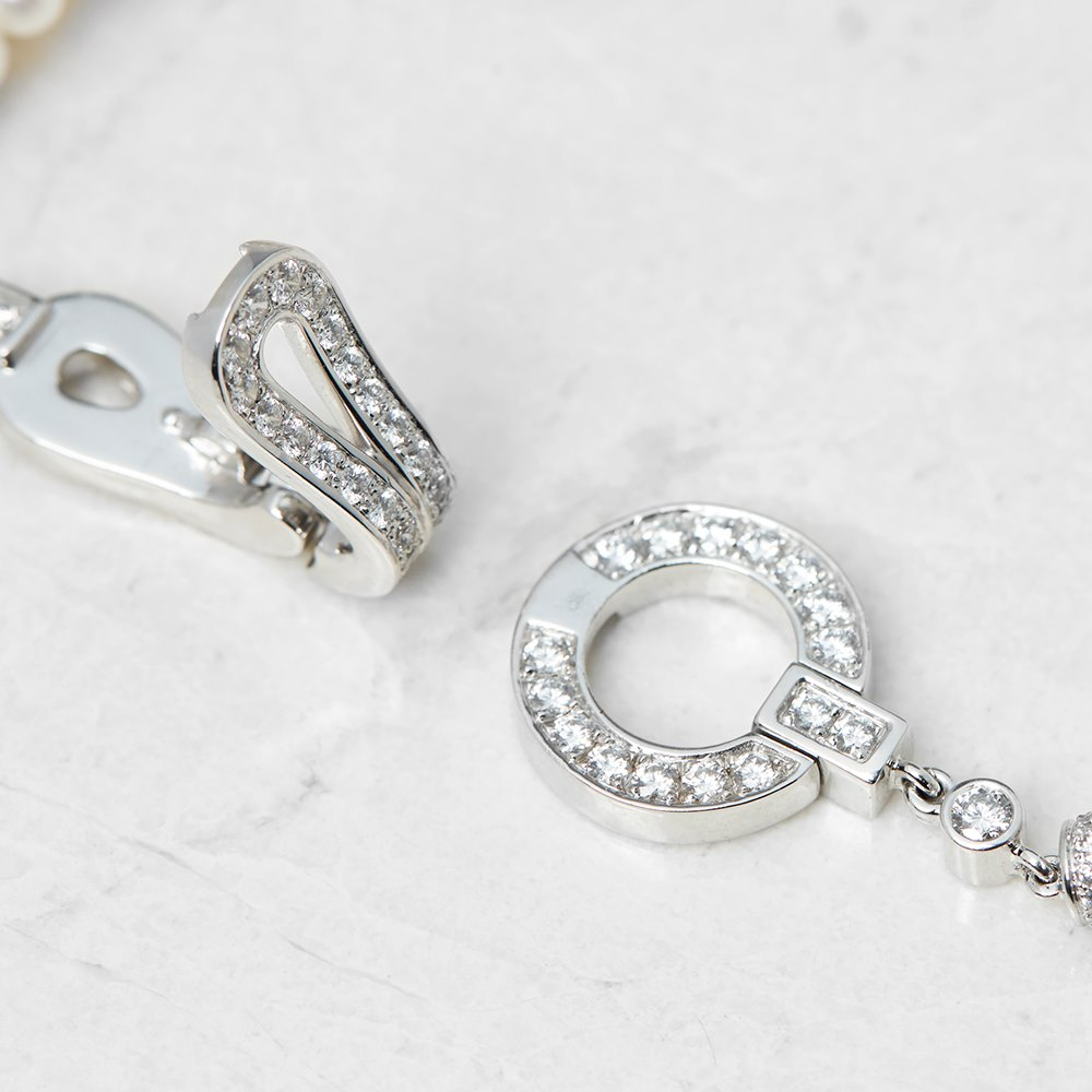 Cartier 18k White Gold Cultured Pearl & 1.02ct Diamond Agrafe Bracelet