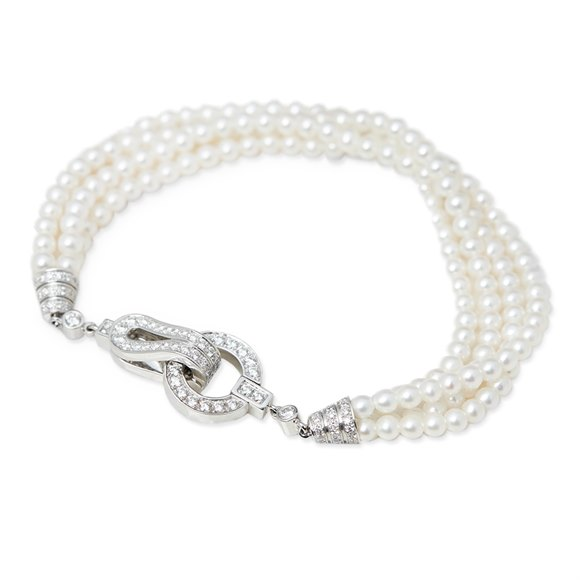 Cartier 18k White Gold Cultured Pearl & 1.02ct Diamond Agrafe Bracelet