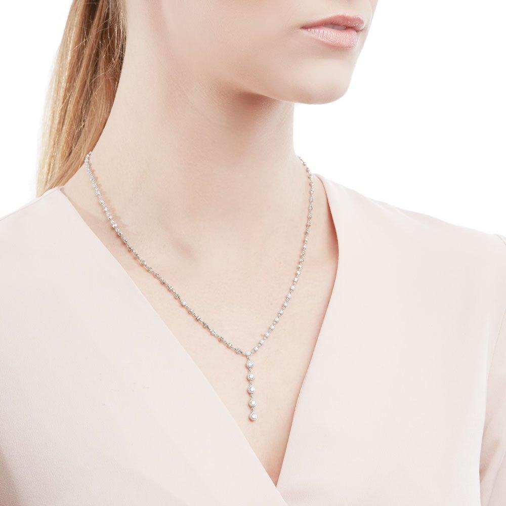 Tiffany & Co. Platinum 2.00ct Diamond Jazz T-Drop Necklace