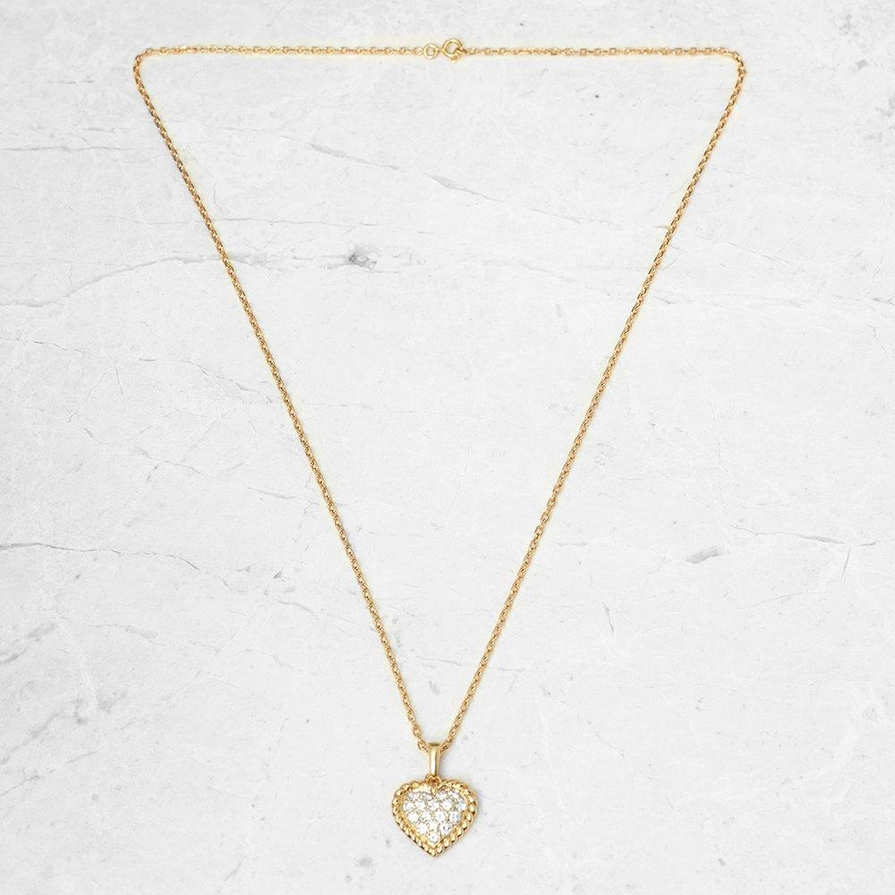 Van Cleef & Arpels 18k Yellow Gold 0.75ct Diamond Heart Necklace