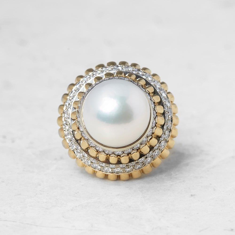 Van Cleef & Arpels 18k Yellow Gold Pearl & Diamond Ring