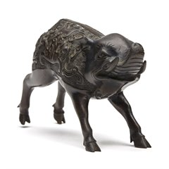 UNUSUAL JAPANESE MEIJI BRONZE WILD BOAR FIGURE 19TH C.