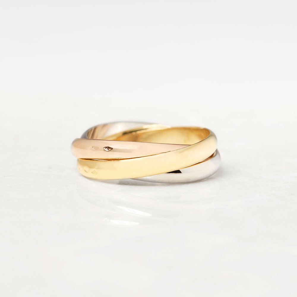 Cartier 18k Yellow, White & Rose Gold Trinity Ring