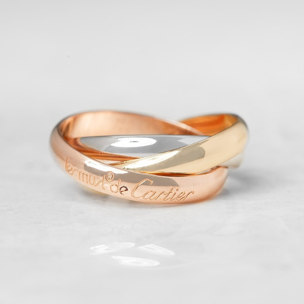 Cartier 18k Yellow, White & Rose Gold Trinity Ring Size N