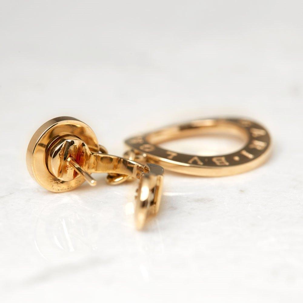 Bulgari 18k Yellow Gold Mother of Pearl Circle Drop Earrings